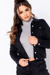 Charcoal Mid Length Western Denim Jacket
