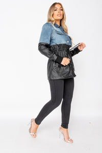 Dark Blue Faux Leather & Denim Panelled Tie Waist Jacket