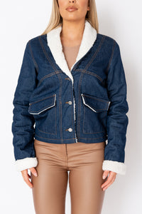 Dark Blue Teddy Borg Shawl Collar Denim Jacket