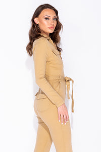 Camel Denim Zip Front Tie Waist Long Sleeve Jumpsuit