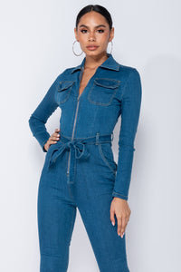 Mid Blue Denim Zip Front Tie Waist Long Sleeve Jumpsuit