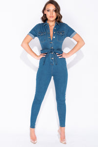 Mid Blue Denim Button Up Tie Waist Short Sleeve Jumpsuit