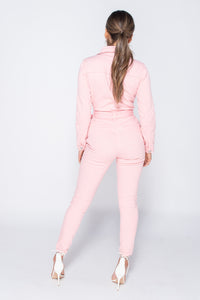 Pink Western Belt Detail Long Sleeve Denim Jumpsuit