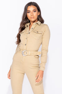 Camel Western Belt Detail Long Sleeve Denim Jumpsuit