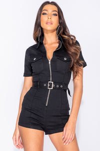Black Zip Front Short Sleeve Stretch Denim Playsuit