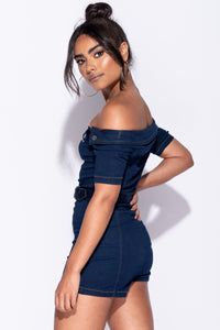 Indigo Denim Bardot Zip Front Self Belt Playsuit