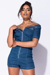Mid Blue Denim Bardot Zip Front Self Belt Playsuit