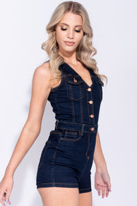 Indigo Button Front V Neck Sleeveless Denim Playsuit