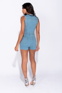 Light Blue Button Front V Neck Sleeveless Denim Playsuit