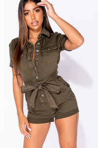 Khaki Denim Button Up Tie Waist Short Sleeve Playsuit