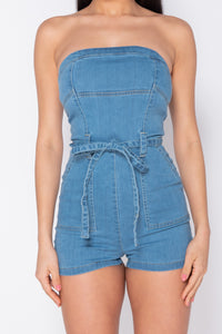 Light Blue Denim Bandeau Waist Tie Playsuit
