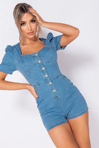 Light Blue Button Up Front Puff Sleeve Playsuit