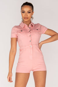 Pastel Pink Button Up Front Short Sleeve Denim Playsuit