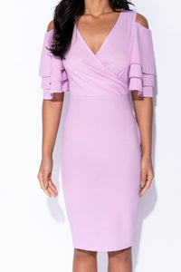 Lilac Multi Frill Sleeve Wrap Front Bodycon Dress