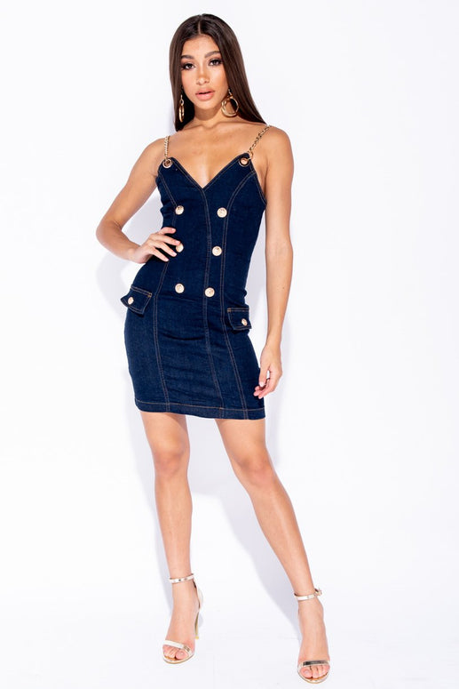 Image: Indigo Military Button Chain Strap Bodycon Denim Dress