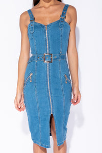 Mid Blue Zip Up Front Self Belt Denim Midi Dress
