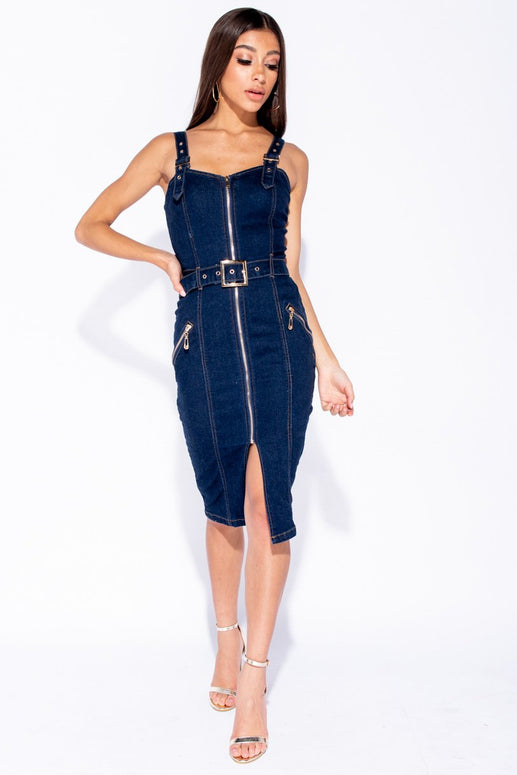 Image: Indigo Zip Up Front Self Belt Denim Midi Dress