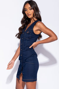 Indigo Denim Button Up V Neck Sleeveless Shirt Dress