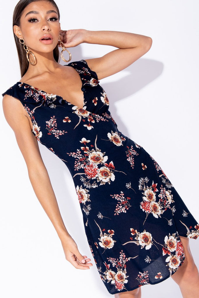 Navy Floral Print Frill Detail Wrap Front Mini Dress