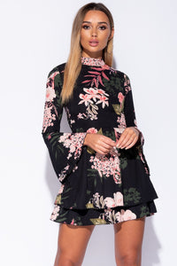 Black Floral Flare Sleeve Frill Hem Shift Dress - Parisian-uk