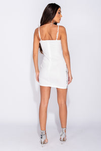 White Silver Sequin Plunge Neck Bodycon Mini Dress
