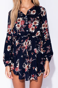 Navy Floral Print Button Front Mini Dress