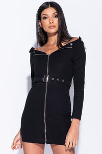 Black Bardot Zip Front Self Belt Bodycon Mini Dress  - Parisian-uk