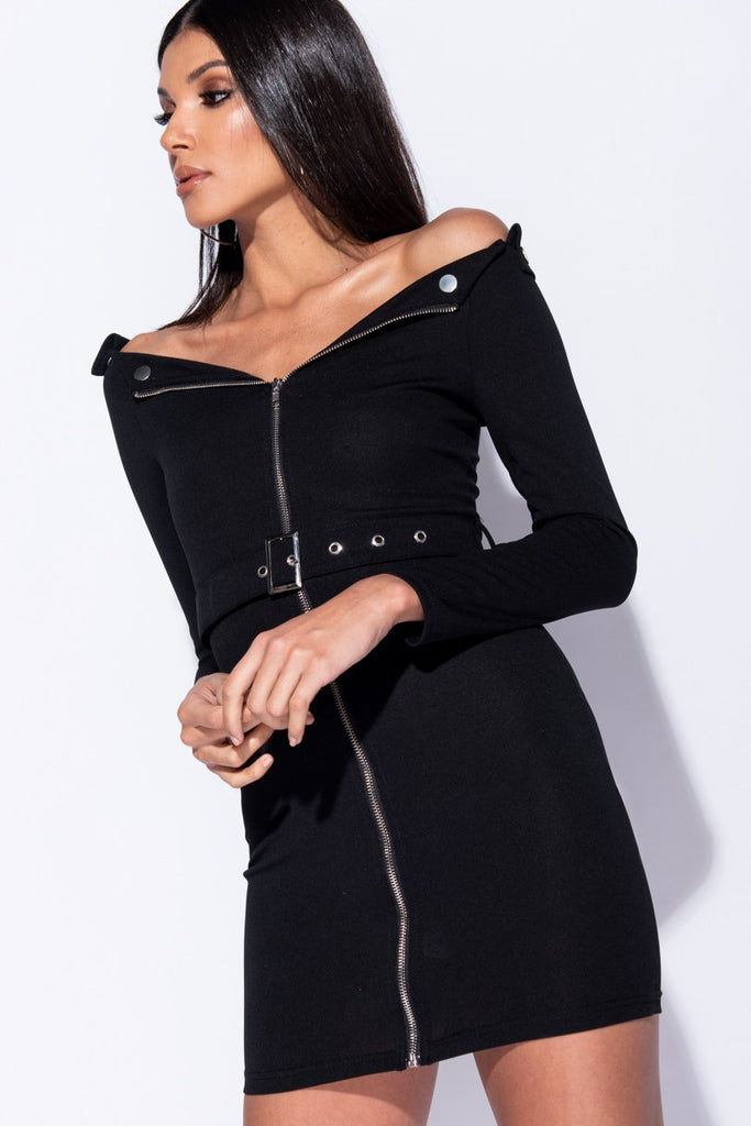 Image: Black Bardot Zip Front Self Belt Bodycon Mini Dress  - Parisian-uk