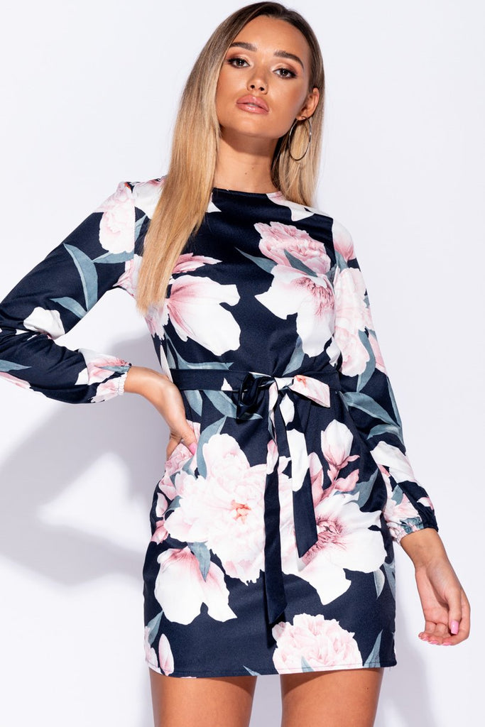 Navy Floral Self Belt Long Sleeve Mini Dress