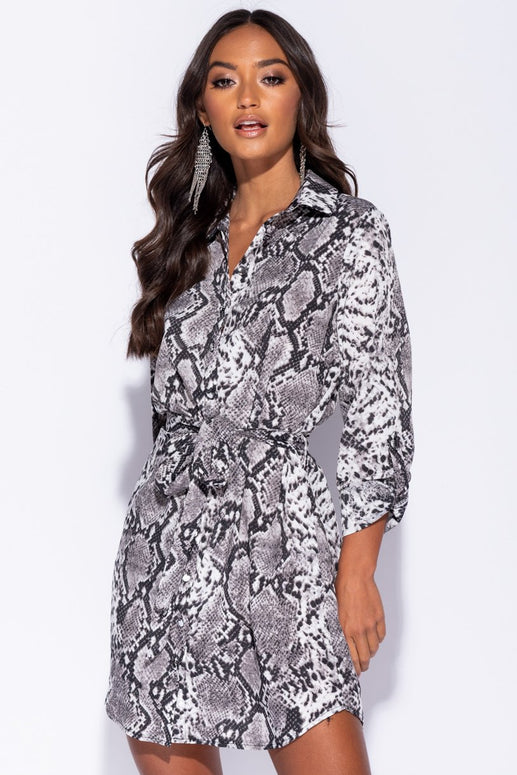 Image: Grey Snake Print Self Belt Shirt Dress - Parisian-uk