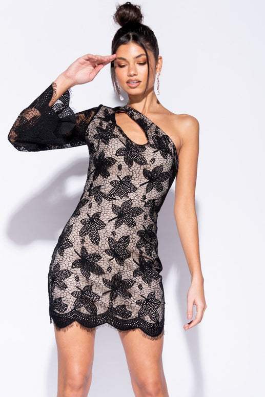 Image: Black Cut Out Detail Scallop Lace One Shoulder Mini Dress - Parisian-uk