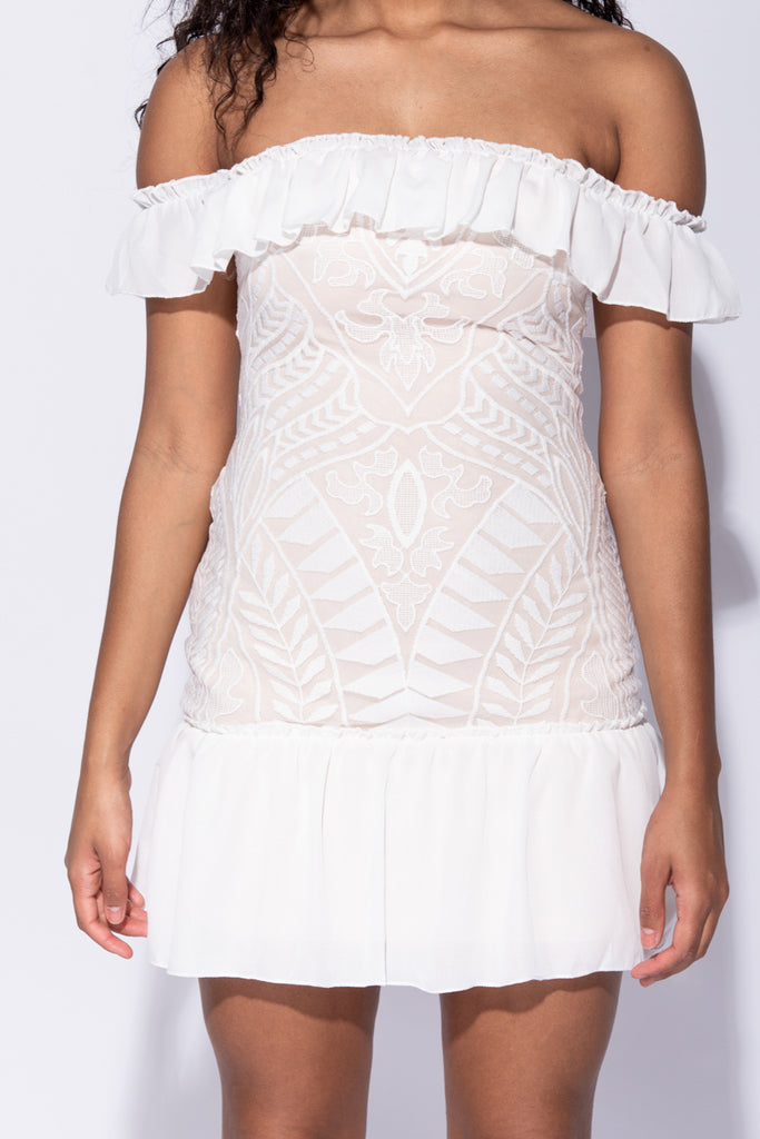 Image: White Frill Hem Mesh Panel Bandeau Mini Dress