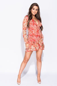 Red Ditsy Floral Frill Detail Wrap Front Mini Dress