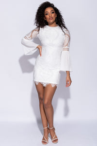 White Eyelash Trim Lace Flare Sleeve Mini Dress
