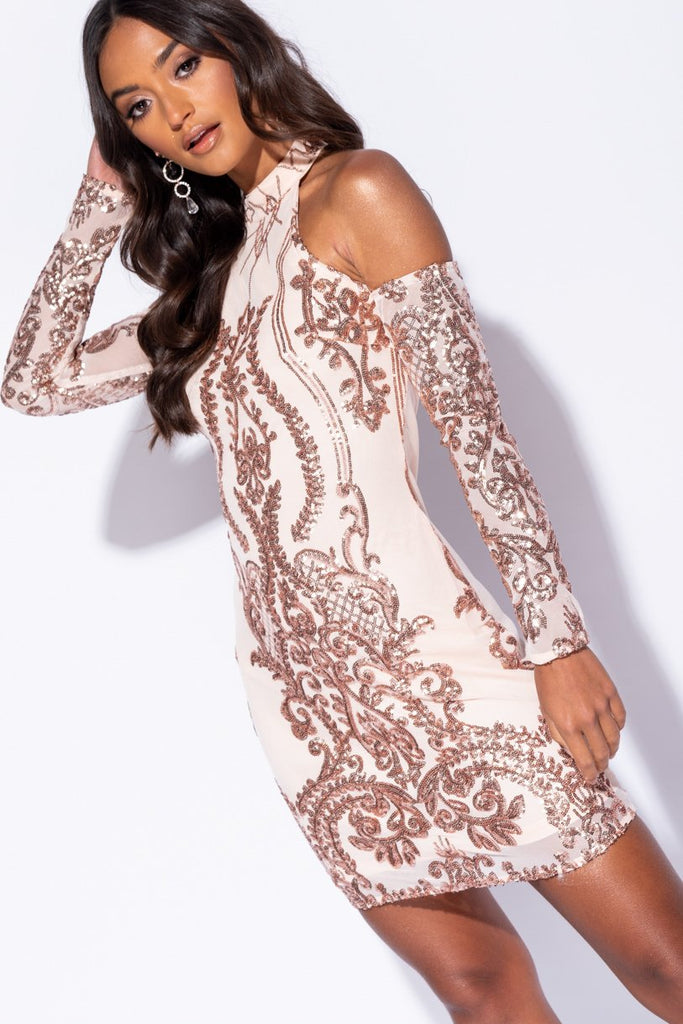 Image: Nude Sequin Lace Cold Shoulder Bodycon Dress