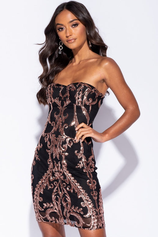Image: Black Baroque Sequin Front Bandeau Bodycon Dress - Parisian-uk