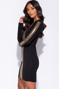 Black Chain Trim V Neck Long Sleeve Bodycon Dress - Parisian-uk