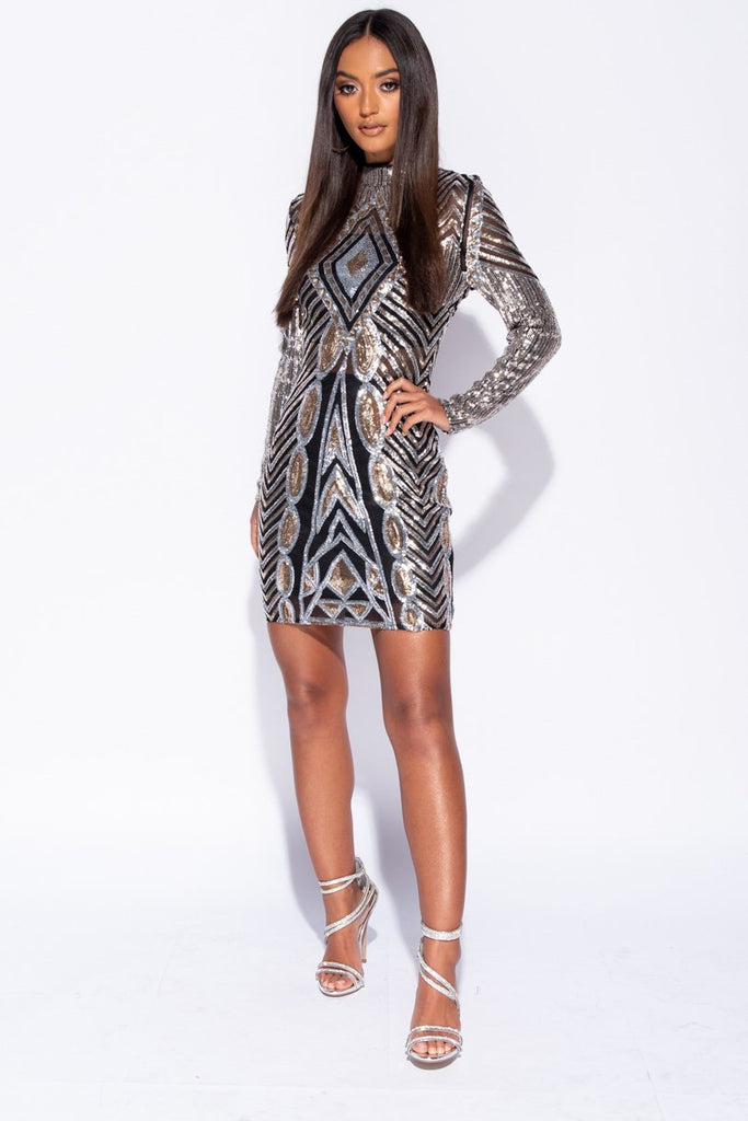 Silver Gold Geometric Sequin Long Sleeve High Neck Bodycon Dress