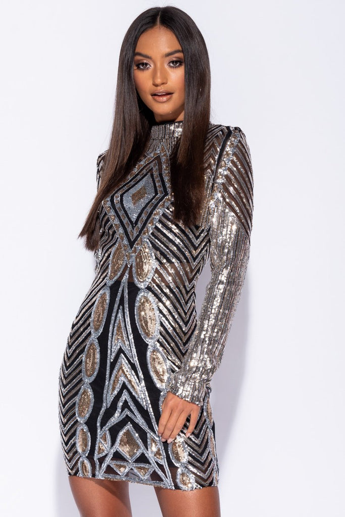 Image: Silver Gold Geometric Sequin Long Sleeve High Neck Bodycon Dress