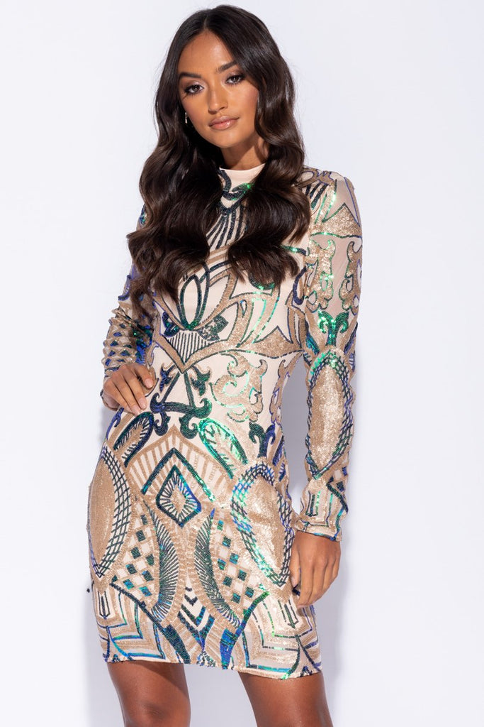 Image: Green Gold Geometric Sequin Long Sleeve High Neck Bodycon Dress - Parisian-uk