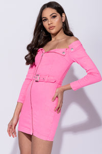 Neon Pink Zip Front Bardot Bodycon Denim Dress
