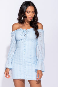 Light Blue Broderie Anglaise Bardot Lace Up Front Bodycon Mini Dress