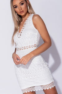 White Crochet Lace Sheer Panel V Neck Mini Dress