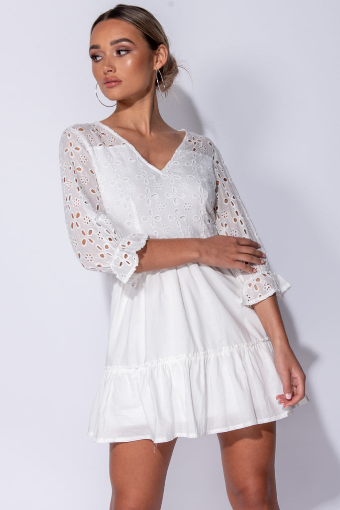 Image: White Broderie Anglaise Tiered Detail V Neck Mini Dress