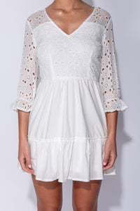 White Broderie Anglaise Tiered Detail V Neck Mini Dress
