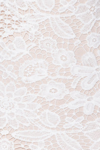 White Nude Multi Lace Frill Detail Mini Dress