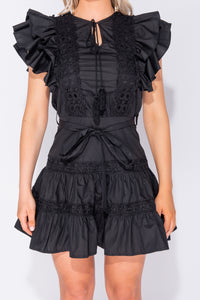 Black Frill Detail Lace Trim Waist Tie Mini Dress