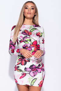 White Large Floral Bodycon Mini Dress