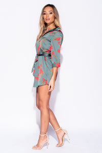 Khaki Floral Self Belt Shirt Dress