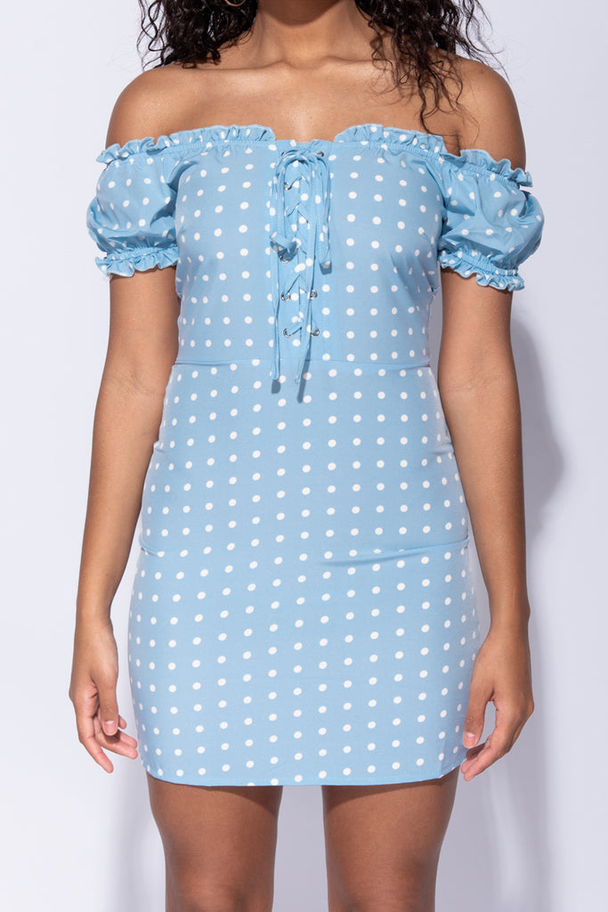 Image: Light Blue Polka Dot Bardot Lace Up Detail Bodycon Mini Dress